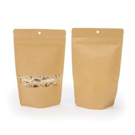 """5 1/8"""" x 3 1/8"""" x 8 1/8"""" (Outer Dims) Kraft Zipper Pouch with Hang Hole (100 Pieces) [ZBGW3KH]"""