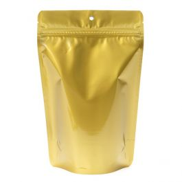 "5 7/8"" x 3 1/2"" x 9 1/8"" (Outer Dims) Gold Metallized Stand Up Zipper Pouch with Hang Hole (100 Pieces) [ZBGM7GH]"