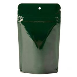 "3 1/8"" x 2"" x 5 1/8"" (Outer Dims) Hunter Green Metallized Stand Up Zipper Pouch with Hang Hole (100 Pieces) [ZBGM1HGH]"