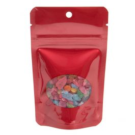 "3 1/8"" x 2"" x 5 1/8"" (Outer Dims) Red Stand Up Zipper Pouch Bags w/Oval Window + Hang Hole (100 Pieces) [ZBGO1RH]"