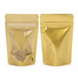 "3 1/8"" x 2"" x 5 1/8"" (Outer Dimensions) Gold Backed Zipper Pouch Gusset Bags (100 Pieces) [ZBGGC1]"