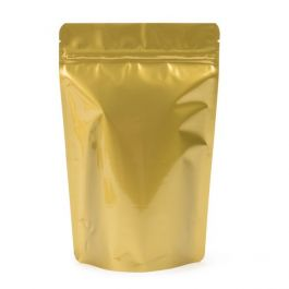"5 7/8"" x 3 1/2"" x 9 1/8"" (Outer Dimensions) Gold Metallized Zipper Pouch Bags (100 Pieces) [ZBGM7G]"