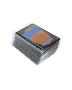 stack of trading cards in clear sleeve