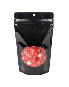 "hanging stand up black pouch | 5 1/8"" x 3 1/8"" x 8 1/8"""