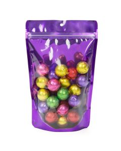purple backed stand up zipper pouch with wrapped candies | 11 oz
