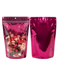 """5 7/8"""" x 3 1/2"""" x 9 1/8"""" (Outer Dims) Bright Fuchsia Stand Up Pouch with Hang Hole (100 Pieces) [ZBGB7FS]"""