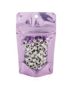Packaged beads in lavender stand up pouch