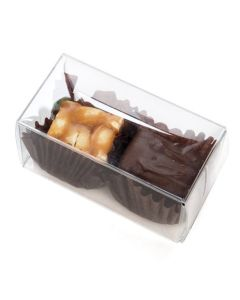 "1 3/8"" x 1 7/16 x 2 3/4"" clear chocolate box"
