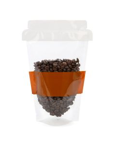 coffee beans packaged in coffee cup shaped stand up pouch 6 x 3 1/2 x 9