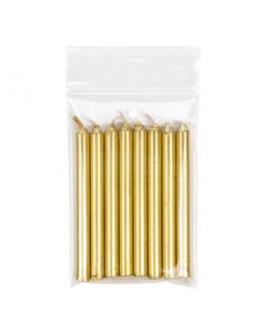 Gold candles inside vented hanging bag