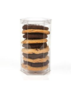 Cookies stacked in clear plastic packaging