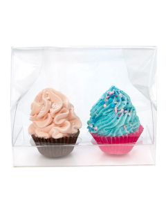 crystal clear mini cupcake packaging for two cupcakes | 5 x 2 1/4 x 5
