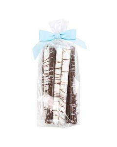 Chocolate pretzel rods in clear packaging