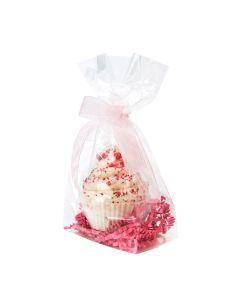 Cupcake inside clear flat bottom gusset bag