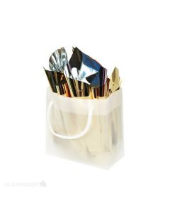 """6 5/16"""" x 3"""" x 6 5/16"""" Frosted handle bag"""