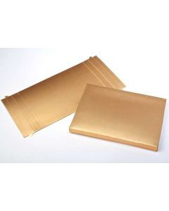 "5 3/8"" x 5/8"" x 7 1/2"" Gold Paper Box Bottom (25 Pieces) [GD1] - CLEARANCE"