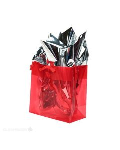 "6 5/16"" x 3"" x 6 5/16"" Red handle bag"