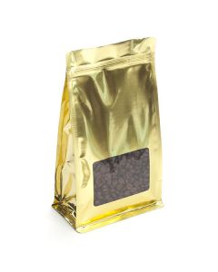 "5"" x 3"" x 8"" Shimmer Gold Box Bottom Zipper Pouches w/Window (100 Pieces) [SQMS7SG] - CLEARANCE"