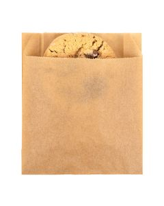 "4"" x 1 1/8"" x 4 1/2"" Kraft Greaseproof Bags (100 Pieces) [GPB2K]"