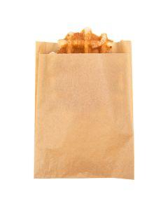 "5 1/2"" x 1 1/8"" x 7 1/2"" Kraft Greaseproof Bags (100 Pieces) [GPB4K]"