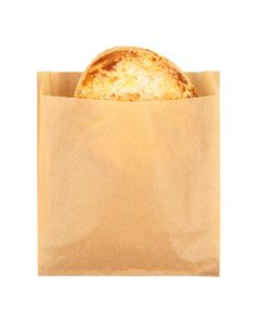 "6"" x 1 1/8"" x 6 1/2"" Kraft Greaseproof Bags (100 Pieces) [GPB5K]"