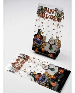 "4"" x 2 1/2"" x 9 1/2"" Trick or Treat Printed Gusset Bags, 1.2 Mil (100 Pieces) [G4TOT]"