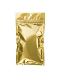 "4"" x 6 1/2"" Gold Metallized Hanging Zipper Barrier Bags (100 Pieces) [HZBB5MG]"