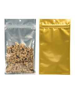 """5"""" x 8 3/16"""" Gold Backed Metallized Hanging Zipper Barrier Bags (100 Pieces) [HZBB6CG]"""