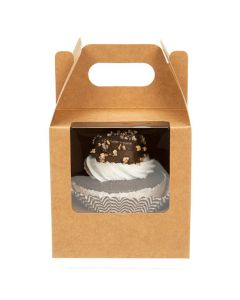 4 x 4 x 4 Kraft single cupcake handle box with window