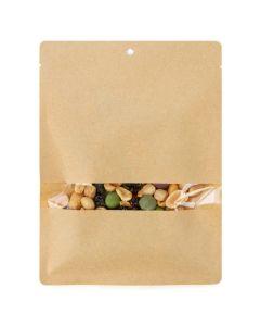 "5"" x 7"" Kraft Compostable Heat Seal Bags w/Window (100 Pieces) [TB316]"