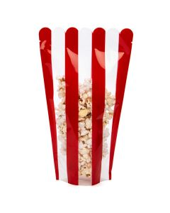 6 1/2 x 4 x 10 1/2 popcorn box shaped pouch with tear notches