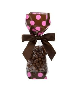 Candy in Printed Cello Bag with Brown Bands and Pink Dots