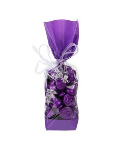 Candy inside Gusset Cello Bag with Purple Bands