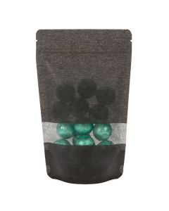 Food safe black rice paper bag with window