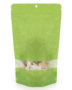 """6 3/4"""" x 3 1/2"""" x 11 1/4"""" (Outer Dims) Green Rice Paper Stand Up Zipper Pouch w/Hang Hole (100 Pieces) [TB315]"""