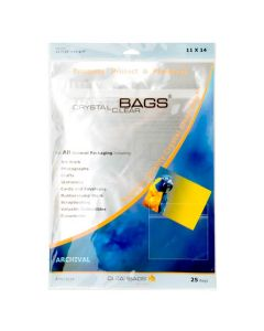 "11 7/16"" x 14 1/4"" Crystal Clear Protective Closure Bags Retail Pack of 25 (1 Pack) [RPA11X14]"