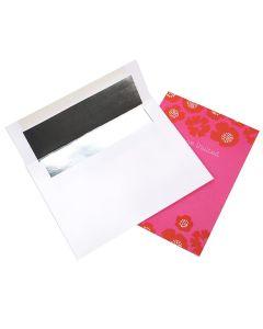 """A7 7 1/4"""" x 5 1/4"""" White Envelope Silver Foil Lined (50 Pieces) [E401]"""