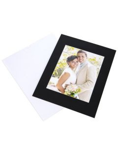 "11"" x 14"" Slip-In Mat, Black/White Core, 7 1/2"" x 9 1/2"" Inner Cut (10 Pieces) [MS40004]"
