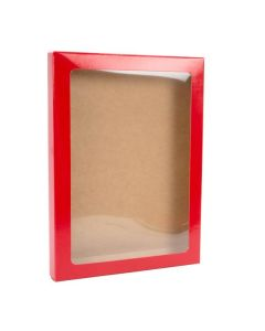 "5 3/8"" x 5/8"" x 7 3/8"" Gloss red paper box"