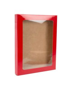 "4 1/2"" x 5/8"" x 5 7/8"" Red paper box w/ window"