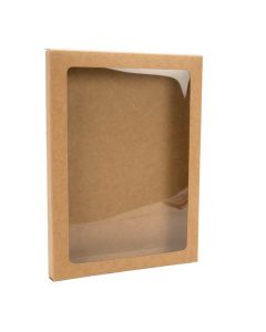 "5 3/8"" x 5/8"" x 7 3/8"" Kraft paper box with window"
