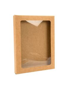 "4 1/2"" x 1/2"" x 5 7/8"" Kraft paper box with window"