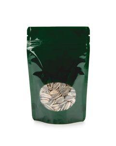 Hunter Green metallized oval window zipper bag