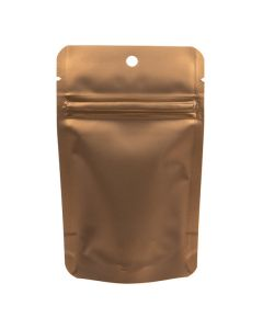 "3 1/8"" x 2"" x 5 1/8"" (Outer Dims) Bronze Metallized Zipper Pouch Bags with Hang Hole (100 Pieces) [ZBGM1BZH]"