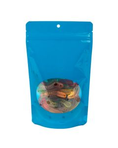 "blue stand up pouch with hang hole | 5 1/8"" x 3 1/8"" x 8 1/8"""