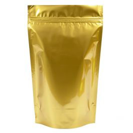 "6 3/4"" x 3 1/2"" x 11 1/4"" (Outer Dimensions) Gold Metallized Zipper Pouch Bags (100 Pieces) [ZBGM4G]"