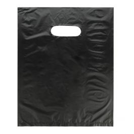"13"" x 15"" Black Handle Bag 0.7 Mil HDPE (100 Pieces) [H1315BK3]"