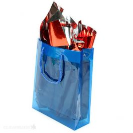 "8 5/8"" x 3"" x 10 3/4"" Blue Clear Colored Glossy Gift Bag (10 Pieces) [G8BL1]"