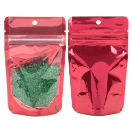 """3 1/8"""" x 2"""" x 5 1/8"""" (Outer Dims) Red Stand Up Pouch w/Hang Hole (100 Pieces) [ZBGB1RD]"""