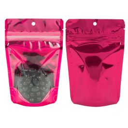 "4"" x 2 3/8"" x 6"" (Outer Dims) Fuschia Backed Stand Up Pouch w/Hang Hole (100 Pieces) [ZBGB2FS]"